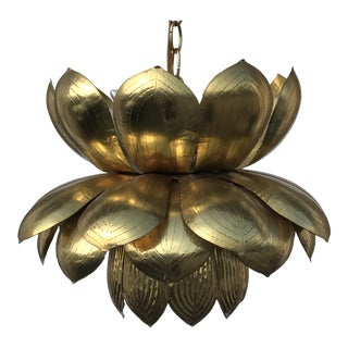 Large Feldman Brass Lotus Pendant Light For Sale