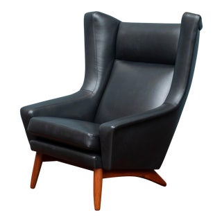 Scandinavian Modern Leather Lounge Chair For Sale
