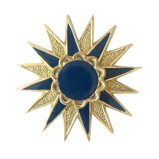 Boho Chic Addison Weeks Michelle Nussbaumer Large Star Backplate & Enamel Knob, Brass & Navy For Sale - Image 3 of 4