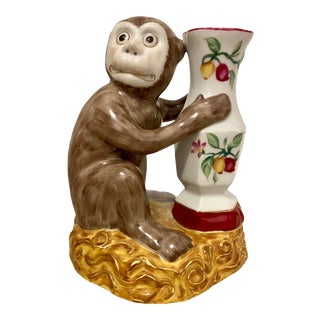 Hand Painted Porcelain Monkey With Vase For Sale
