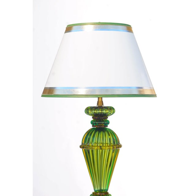 Pair of Vintage Green Murano Lamps with lucite bases and custom hand painted and gilded lampshades, Marbro Lamp Co.