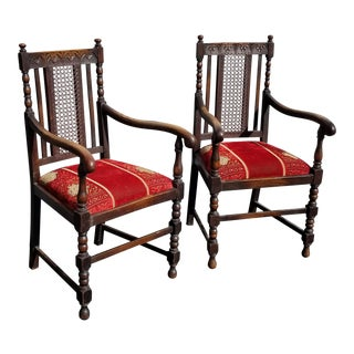 Vintage Designer Spanish Style Carved Cane & Red Velvet Chairs - a Pair