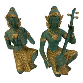 Bronze Thai Musicians Statues - a Pair For Sale