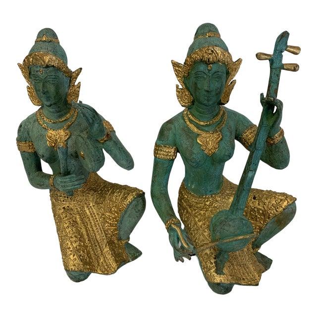 Bronze Thai Musicians Statues - a Pair For Sale