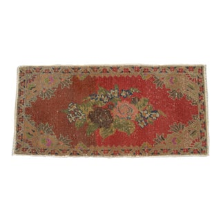 Small Rug Turkish Hand Knotted Bath Mat, Doormat Distressed Low Pile Rug Yastik - 18'' X 37'' For Sale