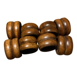 Natural Brown Wooden Napkin Rings- Set of 8 For Sale