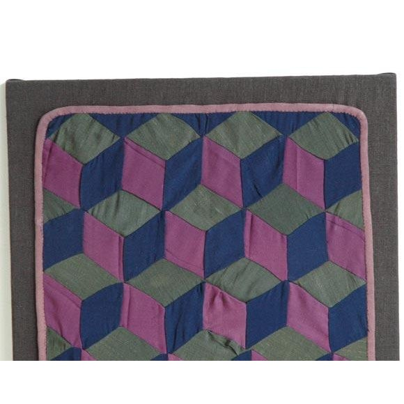 Primitive 1920s Amish Rare Cradle Quilt/Tumbling Blocks For Sale - Image 3 of 5