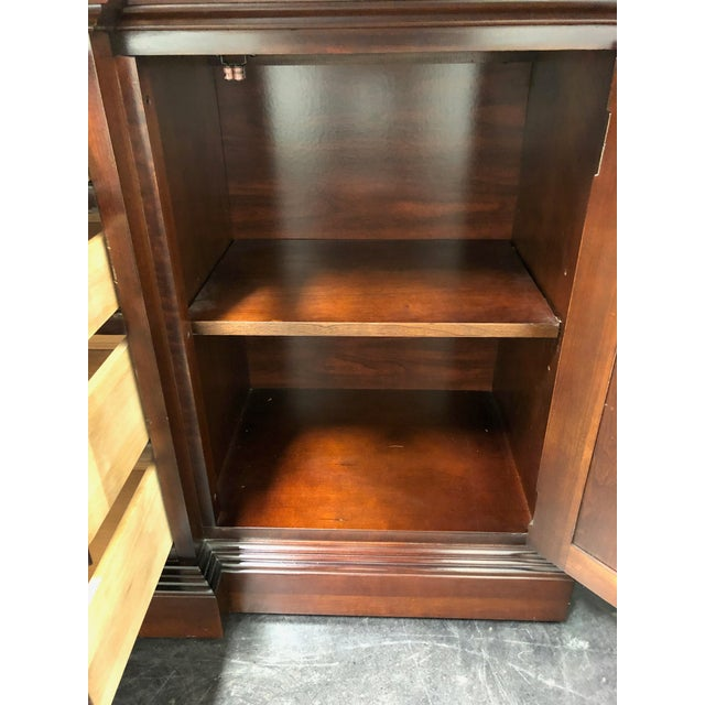 Gold Thomasville Collector's Cherry Monumental Breakfront China Display Cabinet For Sale - Image 8 of 13