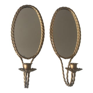 Hollywood Regency Gold Rope Mirror Sconces - a Pair For Sale