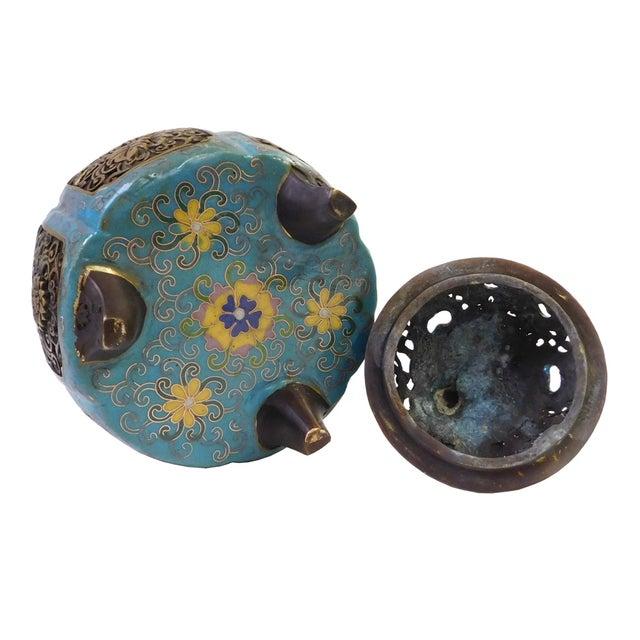 Metal Blue Enamel Cloisonne Incense Burner For Sale - Image 5 of 7
