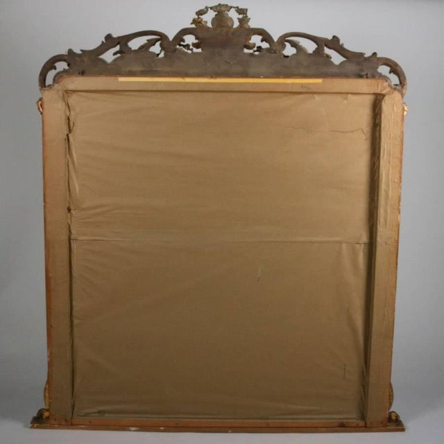 Monumental Antique French Marie Antoinette Pierced Giltwood Over Mantel Mirror For Sale - Image 9 of 11