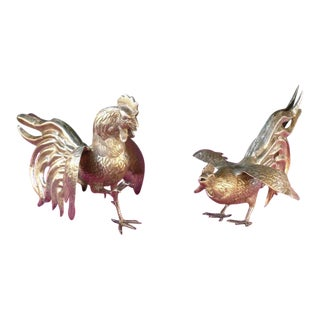 20th Century Traditional Sterling Silver Fighting Rooster Cock Figurines - a Pair For Sale