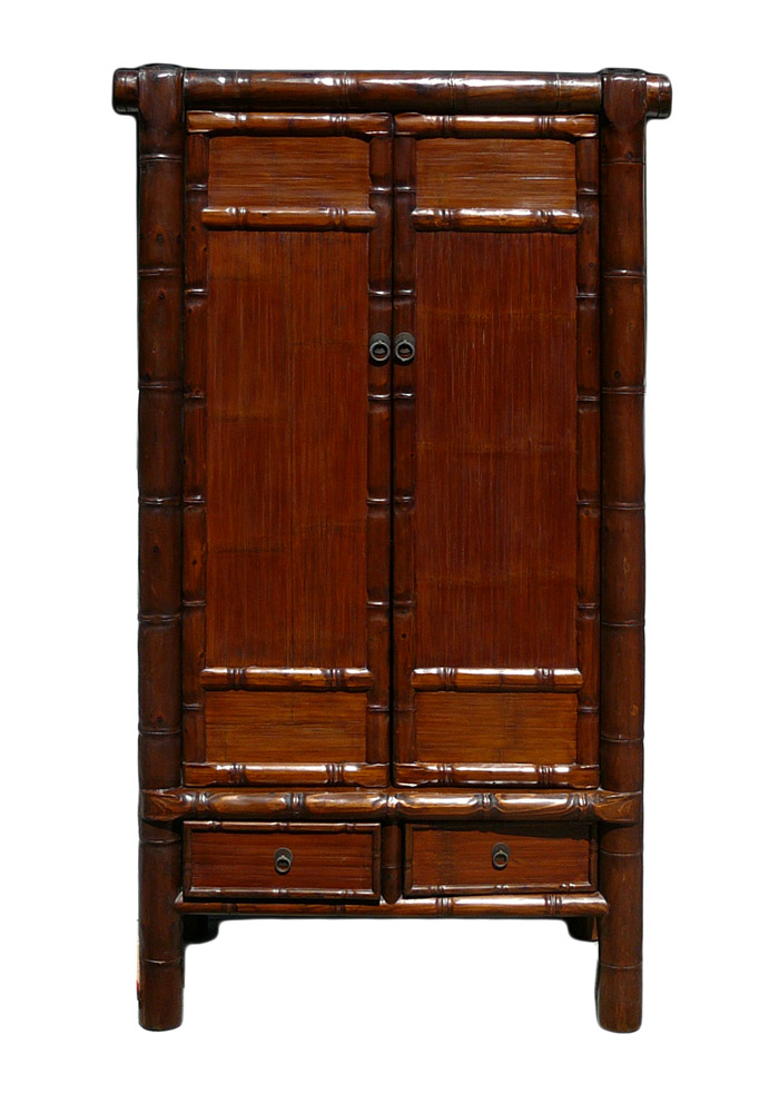 Chinese Solid Elm Wood Carved Faux Bamboo Armoire Chairish