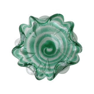 Italian Murano Sommerso Silver Fleck Ruffled Bowl