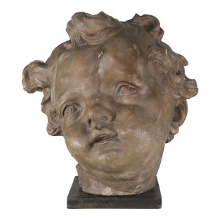 Terra Cotta Cherub Head on Steel Metal Base