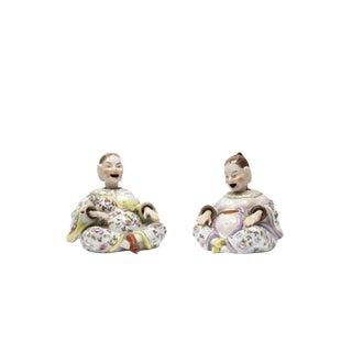 Beautiful Nodding Head Figures -Man & Woman-Antique German Porcelain C1900 For Sale