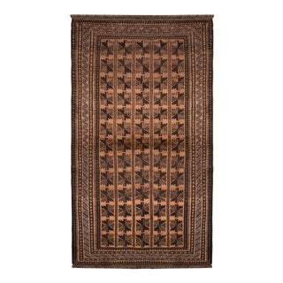 1950s Mid-Century Baluch Tribal Rug Beige-Brown Blue Persian Carpet For Sale