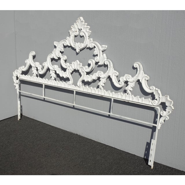 Vintage French Provincial Louis XVI Rococo white king metal headboard. Gorgeous headboard in great vintage condition....