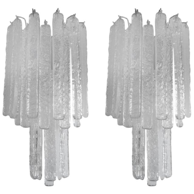 Vintage Mid-Century Italian Venini Style Murano Glass Icicle Sconces - A Pair For Sale
