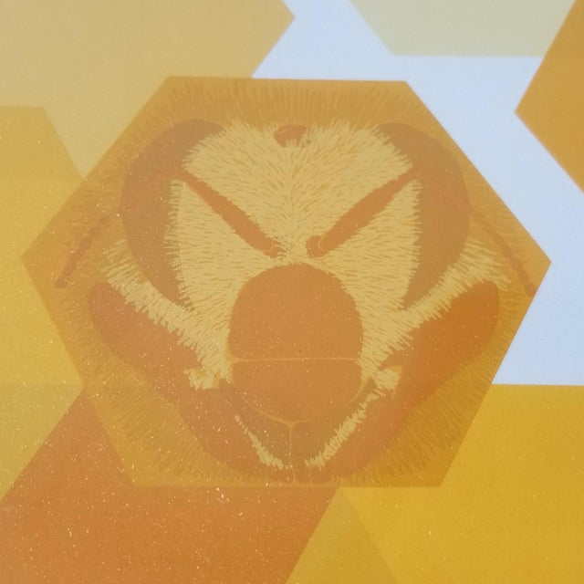"""1960s """"Bees and Hexagons"""" Minimalist Serigraph, Framed For Sale In Seattle - Image 6 of 10"""