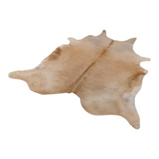 Tan & White Cowhide Rug - 7′ × 8′ For Sale