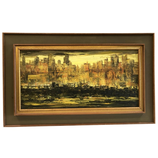 Viola Allen Abstract Cityscape Painting - Image 1 of 9