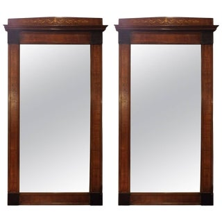 Stately Pair of 19th Century Mahogany Inlaid Pier Mirrors For Sale