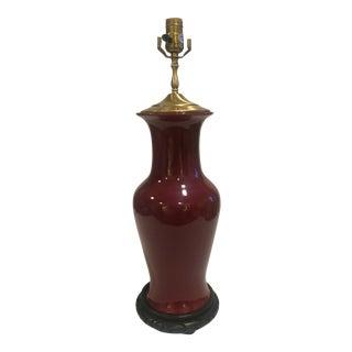 Oxblood Ceramic Ginger Jar Lamp For Sale