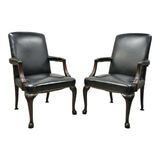 Antique English Georgian Style Dark Green Leather Library Office Chairs - a Pair For Sale