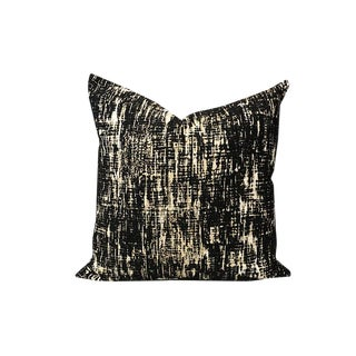 Designer Modern Mid Century Black Cream and Brown Whisk Shadow Square Down Fill Pillow For Sale