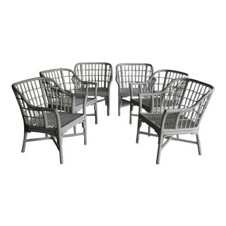 Geometric Grid Pattern Rattan Arm Chairs, Set of 6 For Sale