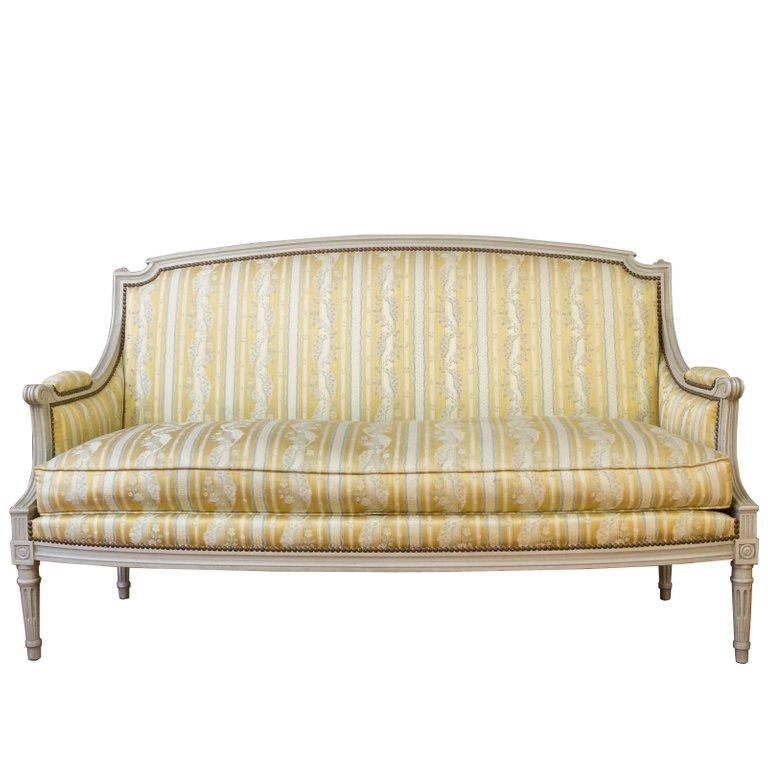 French Louis XVI Style Sofa With Painted Carved Frame   Image 12 Of 12