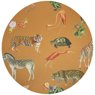 "Nicolette Mayer Exotix Tangerine 16"" Round Pebble Placemat For Sale"