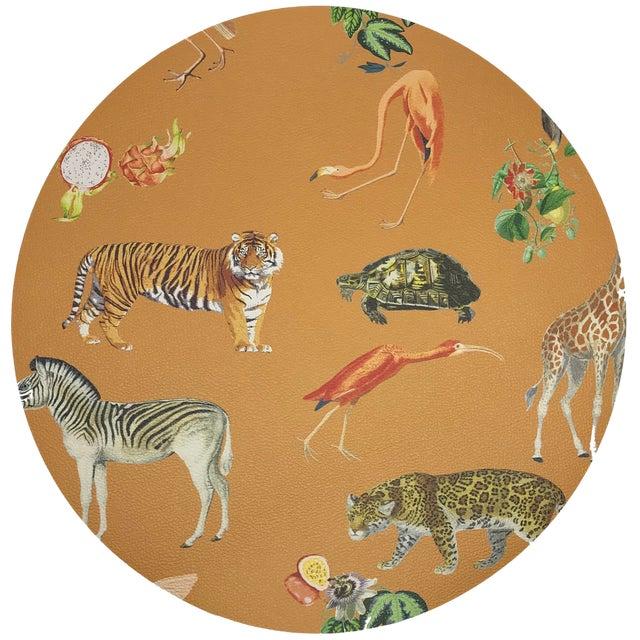 "Nicolette Mayer Exotix Tangerine 16"" Round Pebble Placemat For Sale"