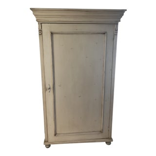 French Hand Carved Antique White Armoire & Matching Chest For Sale