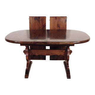 Ethan Allen Tavern Collection Dark Pine Trestle Dining Table For Sale