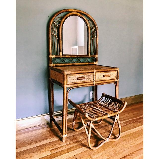 Vintage Bamboo & Rattan Two-Piece Vanity Set W/ Mirror & Stool - Image 3 of 8