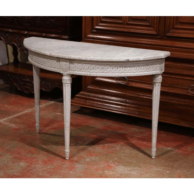 Pair of 19th Century Louis XVI Carved Painted Demi-Lune Console Tables For Sale In Dallas - Image 6 of 9