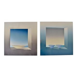Pair of 1980s Works on Paper in Custom Lucite Frames For Sale