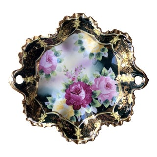 Ornate Floral Gilt Porcelain Catchall Dish For Sale