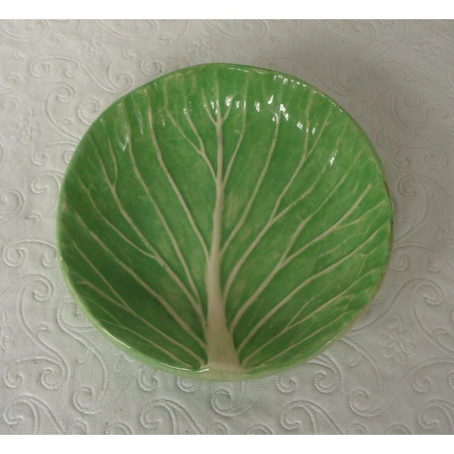 Mid 20th Century Dodie Thayer Cabbageware Lettuce Leaf Butter Pat Dish For Sale - Image 5 of 5