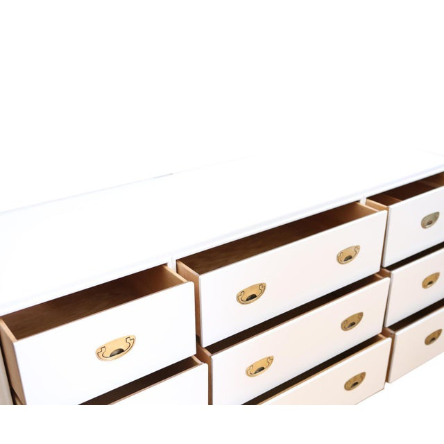 Drexel Vintage White Lacquer Campaign Dresser by Drexel. For Sale - Image 4 of 7