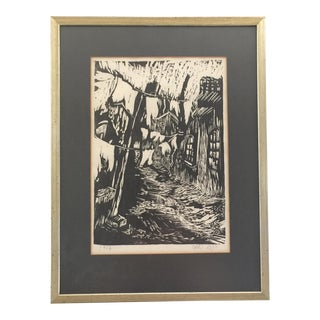 """""""The Jewish Ghetto"""" Black and White Framed Etching Wall Art For Sale"""