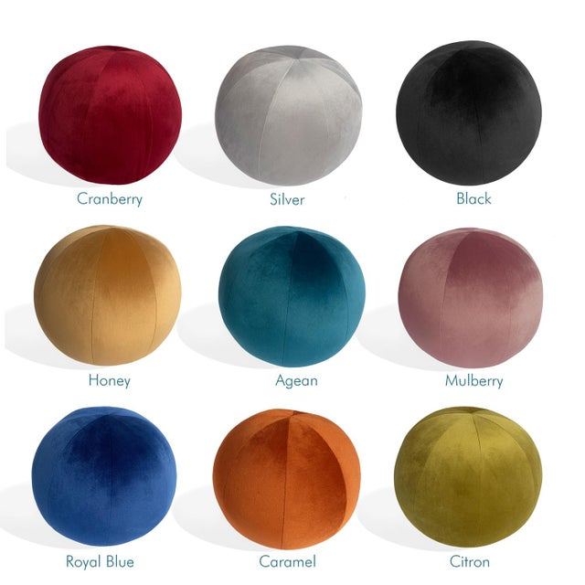 Mid-Century Modern Ball Pillow, Mulberry For Sale - Image 3 of 5