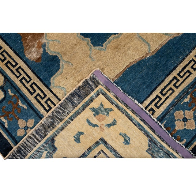 Early 20th Century Antique Art Deco Chinese Peking Wool Rug For Sale - Image 4 of 13