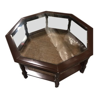 20th Century Traditional Octagonal Glass Top Center Table For Sale