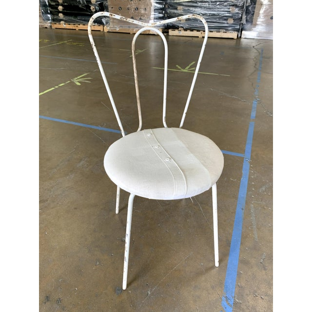 Vintage White Metal Garden Chair With Upholstered Seat For Sale - Image 4 of 4