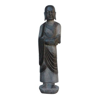 Chinese Black Gray Stone Carved Standing Monk Lohon Statue cs3627S