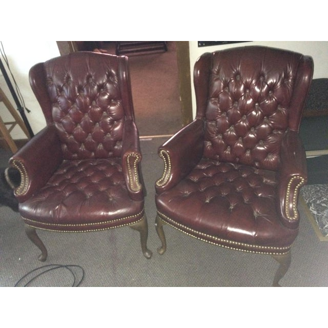 High Point Leather Wingback Chairs - Set of 2 - Image 10 of 11