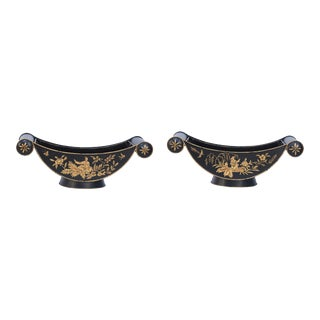Pair of Chinese Black and Gold Tole Scroll Handle Vessels Planters For Sale